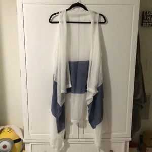 Burnout White and Blue Sleeveless Draping Vest